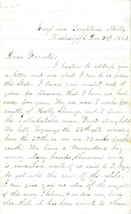 Edwin Levings letter of November 18, 1862, from the Edwin D. Levings Papers (River Falls Mss BO) in the University Archives & Area Research Center at the University of Wisconsin-River Falls