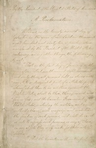 Page 1 of the Emancipation Proclamation, from the National Archives (see footnote 1)