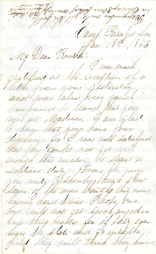 Jerry Flint letter of January 18, 1863, from the Jerry E. Flint Paper (River Falls Mss BN) at the University of Wisconsin-River Falls University Archives & Area Research Center