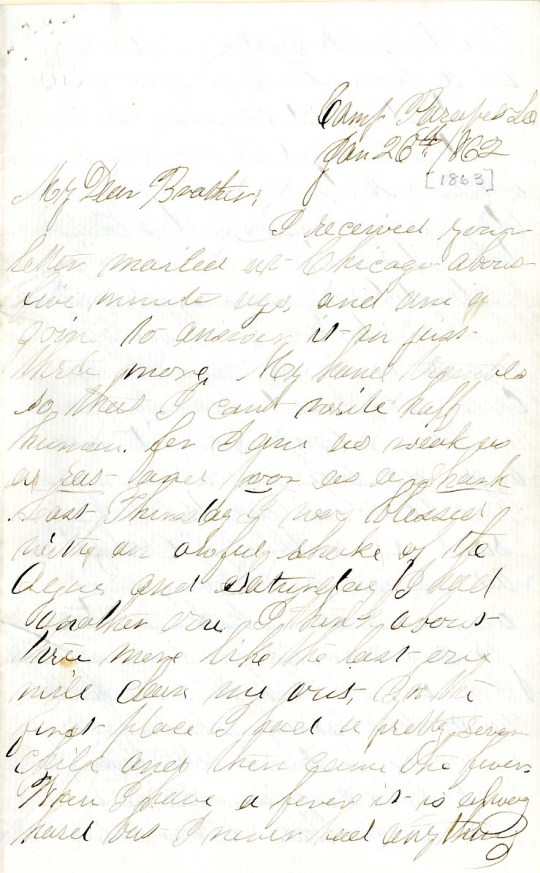 Jerry Flint letter of January 26, 1863, from the Jerry E. Flint Paper (River Falls Mss BN) at the University of Wisconsin-River Falls University Archives & Area Research Center