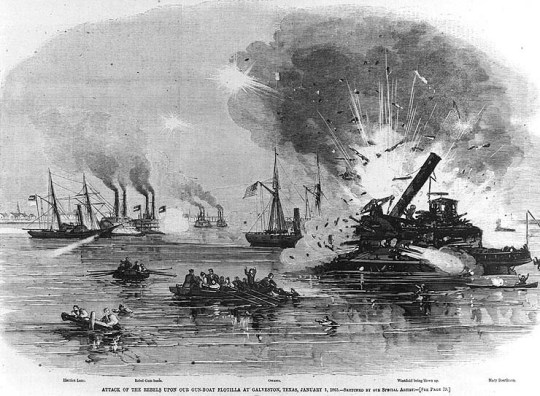 "Line engraving from ""Harper's Weekly"" (see footnote 2). The USS Harriet Lane is shown in the left distance, under attack by the Confederate gunboats Neptune and Bayou City. The grounded USS Westfield is at right, being blown up to prevent capture. USS Owasco is in the center of the view."