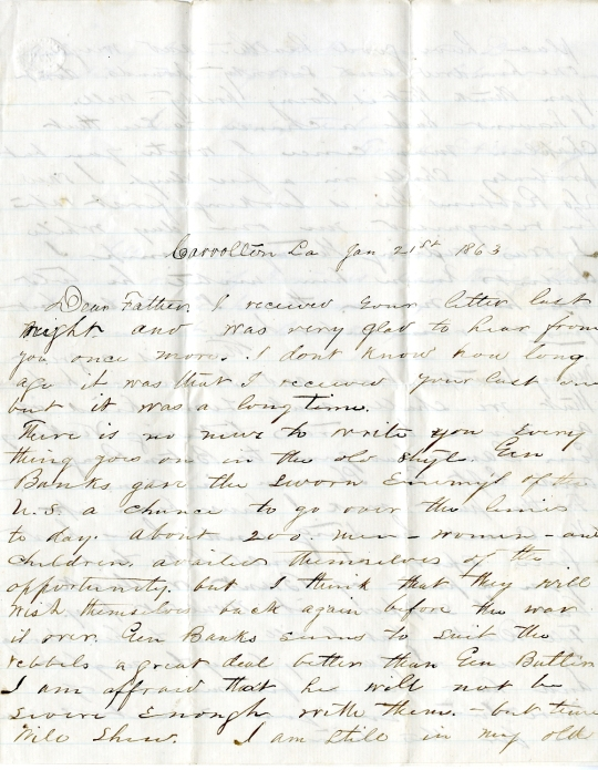 Frank Harding letter of January 21, 1863, from the Frank D. Harding Papers (River Falls Mss AB) in the University Archives & Area Research Center at the University of Wisconsin-River Falls