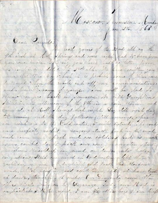 Edwin Levings letter of January 12 and 15, 1863, from the Edwin D. Levings Papers (River Falls Mss BO) in the University Archives & Area Research Center at the University of Wisconsin-River Falls