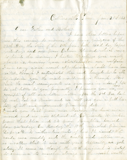 Edwin Levings letter of January 21, 1863, from the Edwin D. Levings Papers (River Falls Mss BO) in the University Archives & Area Research Center at the University of Wisconsin-River Falls