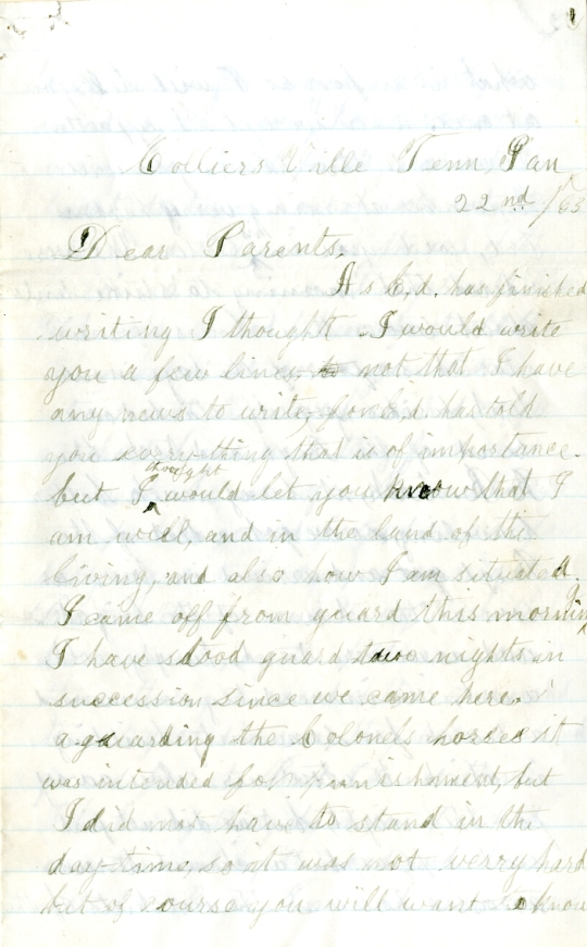 Homer Levings letter of January 22, 1863, from the Edwin D. Levings Papers (River Falls Mss BO) in the University Archives & Area Research Center at the University of Wisconsin-River Falls