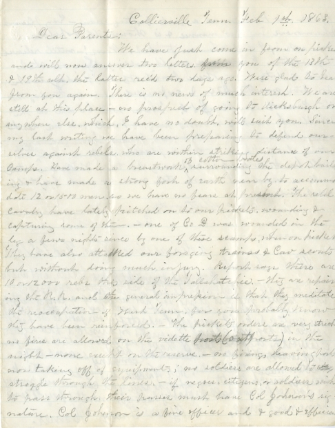 Edwin and Homer Levings letter of February 1, 1863, from the Edwin D. Levings Papers (River Falls Mss BO) in the University Archives & Area Research Center at the University of Wisconsin-River Falls