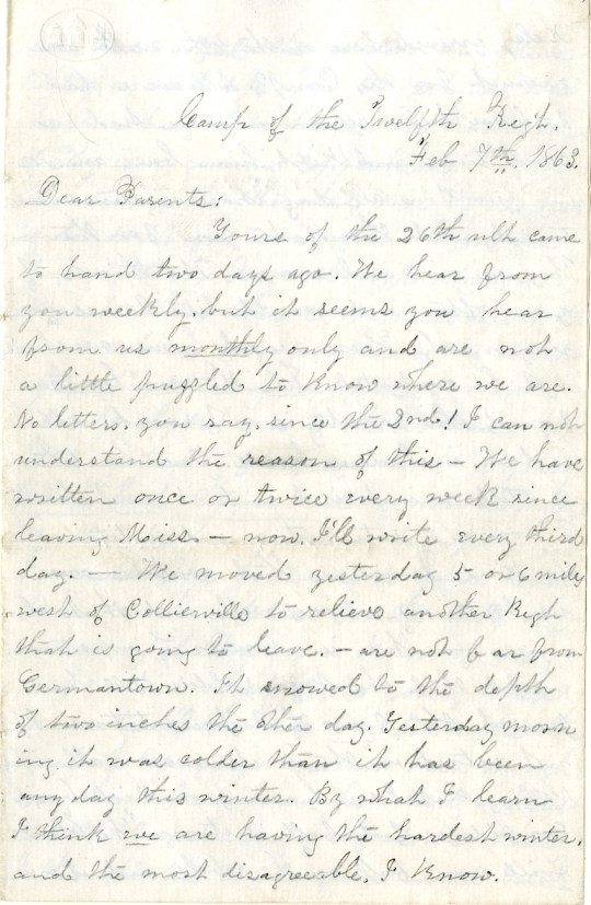 Edwin and Homer Levings letter of February 7, 1863, from the Edwin D. Levings Papers (River Falls Mss BO) in the University Archives & Area Research Center at the University of Wisconsin-River Falls