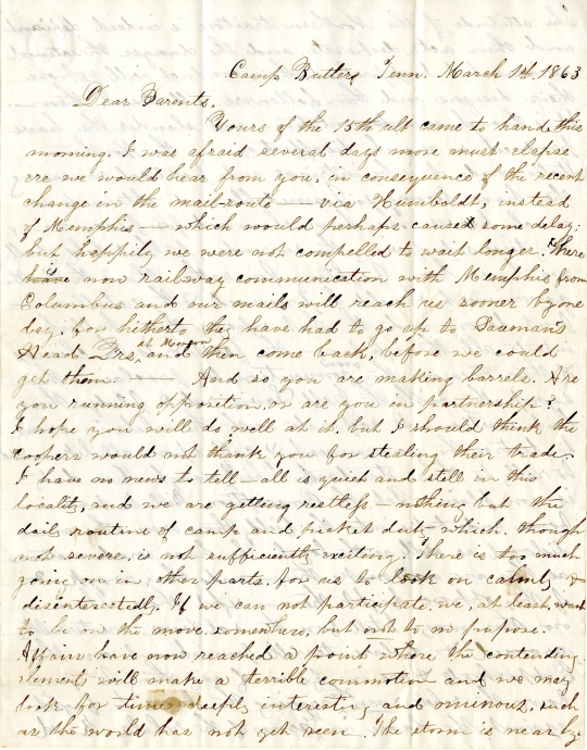 Edwin Levings letter of March 1, 1863, from the Edwin D. Levings Papers (River Falls Mss BO) in the University Archives & Area Research Center at the University of Wisconsin-River Falls
