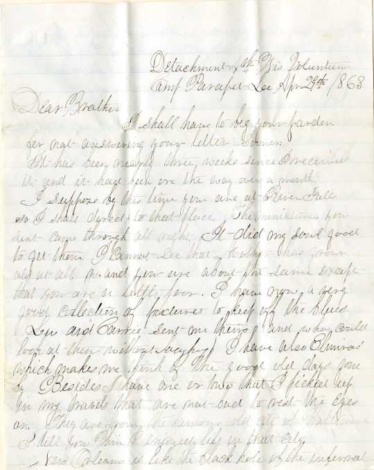 Jerry Flint letter of April 29, 1863, from the Jerry E. Flint Paper (River Falls Mss BN) at the University of Wisconsin-River Falls University Archives & Area Research Center