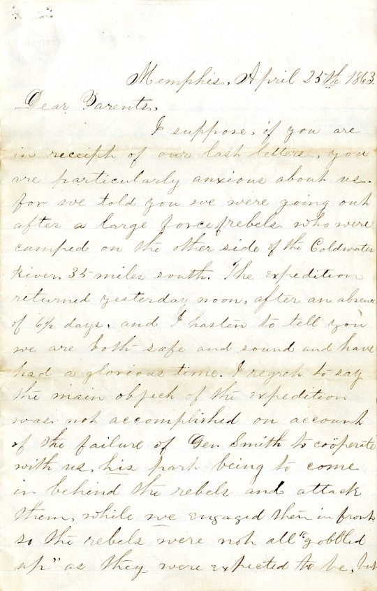 Levings letter 1863-4-25