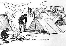 a small two-man tent or dog tent as the soldiers called them. First introduced in 1862, every Union soldier was issued one for use during active campaign and the men joked that only a dog could crawl under it and stay dry from the rain.