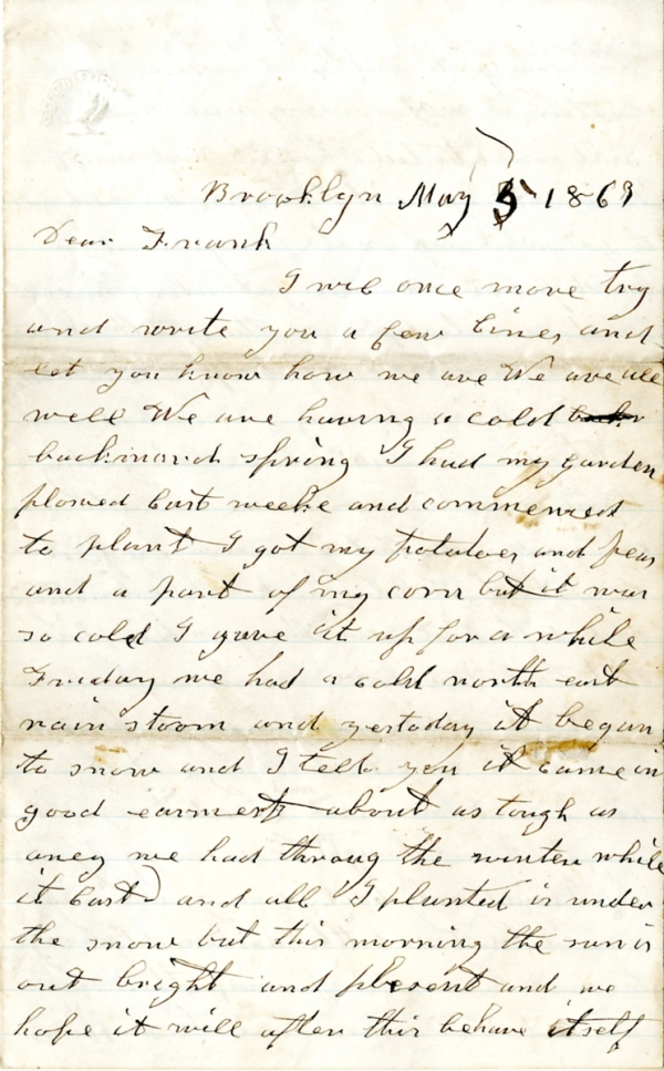 Frank Harding letter of May 5, 1863, from the Frank D. Harding Papers (River Falls Mss AB) in the University Archives & Area Research Center at the University of Wisconsin-River Falls