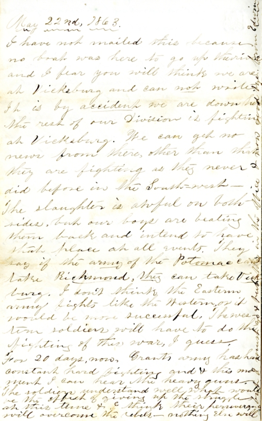Edwin Levings letter of May 22, 1863, from the Edwin D. Levings Papers (River Falls Mss BO) in the University Archives & Area Research Center at the University of Wisconsin-River Falls