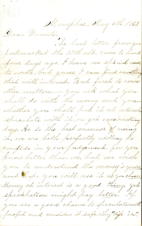 Edwin Levings letter of May 6, 1863, from the Edwin D. Levings Papers (River Falls Mss BO) in the University Archives & Area Research Center at the University of Wisconsin-River Falls