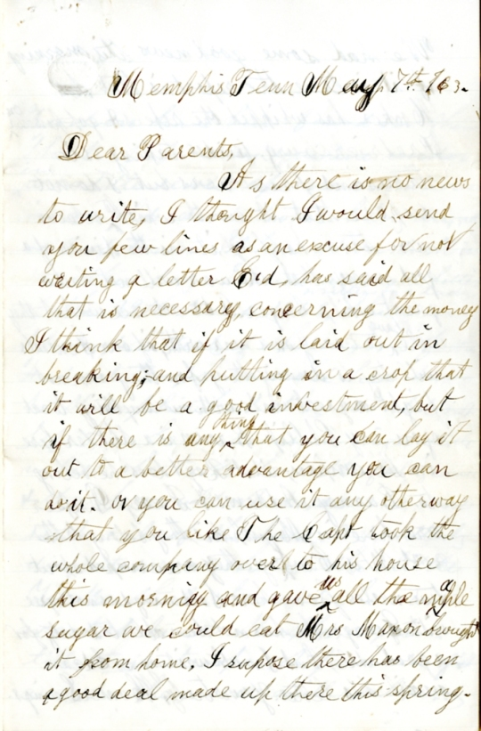 Homer Levings letter of May 7, 1863, from the Edwin D. Levings Papers (River Falls Mss BO) in the University Archives & Area Research Center at the University of Wisconsin-River Falls