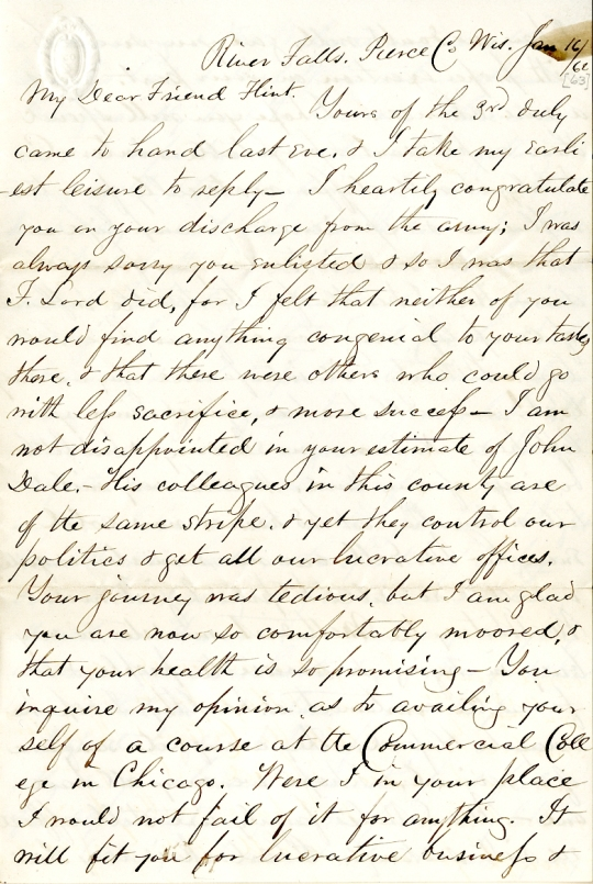 Benjamin Wilcox letter of January 16, 1863, from the Phineas C. Flint Papers (River Falls SC 42) at the University of Wisconsin-River Falls University Archives & Area Research Center