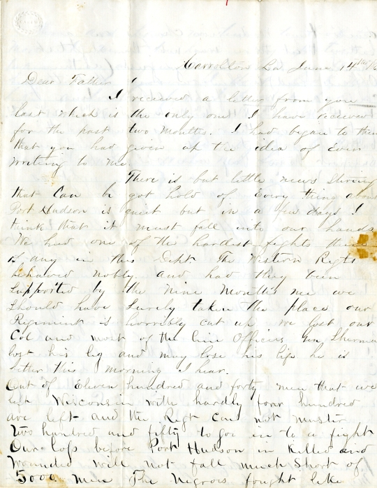 Frank Harding letter of June 14, 1863, from the Frank D. Harding Papers (River Falls Mss AB) in the University Archives & Area Research Center at the University of Wisconsin-River Falls