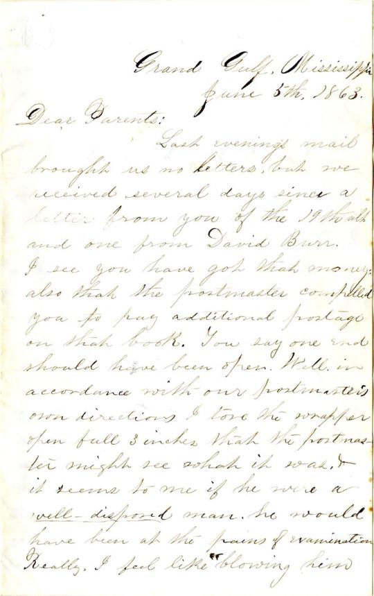Edwin Levings letter of June 5, 1863, from the Edwin D. Levings Papers (River Falls Mss BO) in the University Archives & Area Research Center at the University of Wisconsin-River Falls