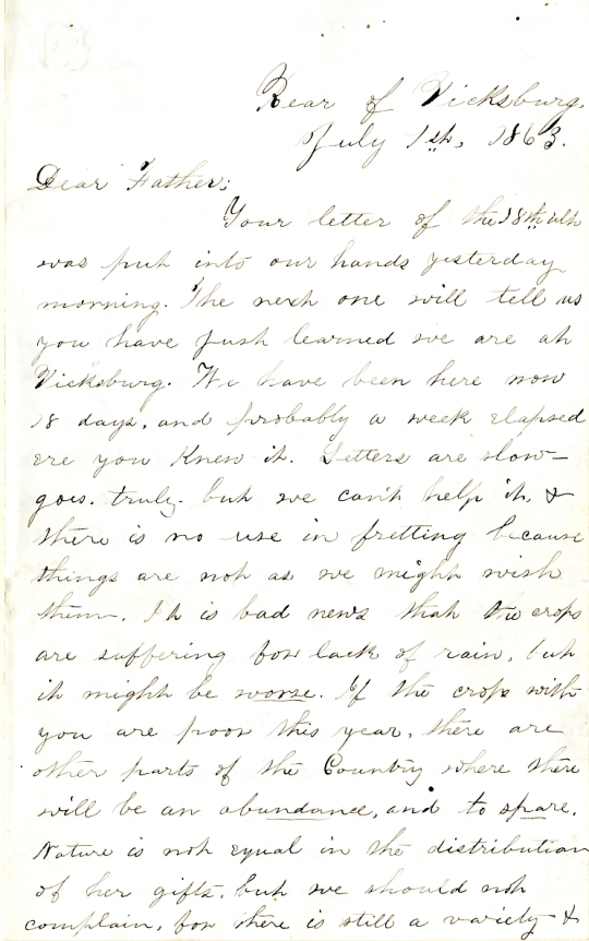 Edwin Levings letter of July 1, 1863, from the Edwin D. Levings Papers (River Falls Mss BO) in the University Archives & Area Research Center at the University of Wisconsin-River Falls