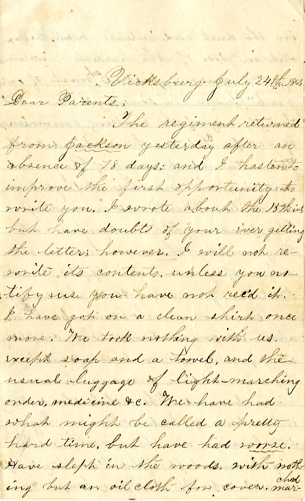 Edwin Levings letter of July 24, 1863, from the Edwin D. Levings Papers (River Falls Mss BO) in the University Archives & Area Research Center at the University of Wisconsin-River Falls