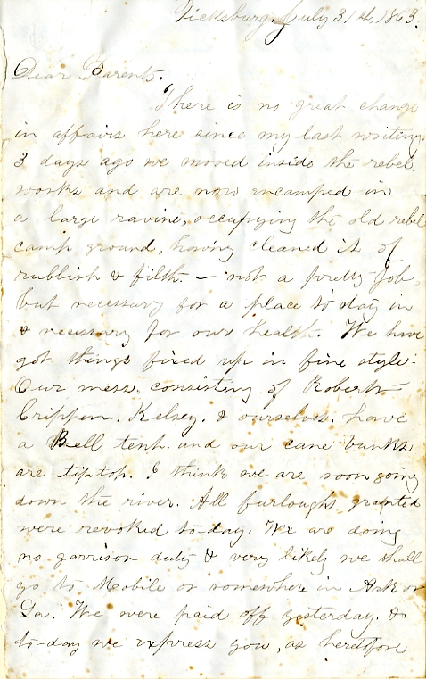 Edwin Levings letter of July 31, 1863, from the Edwin D. Levings Papers (River Falls Mss BO) in the University Archives & Area Research Center at the University of Wisconsin-River Falls