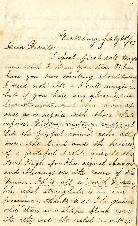 Edwin and Homer Levings letter of July 4, 1863, from the Edwin D. Levings Papers (River Falls Mss BO) in the University Archives & Area Research Center at the University of Wisconsin-River Falls