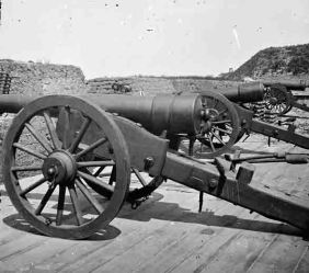 Morris Island, S.C. Battery of 100-pdr. Parrott guns inside Fort Putnam, from the Library of Congress (see footnote 1)