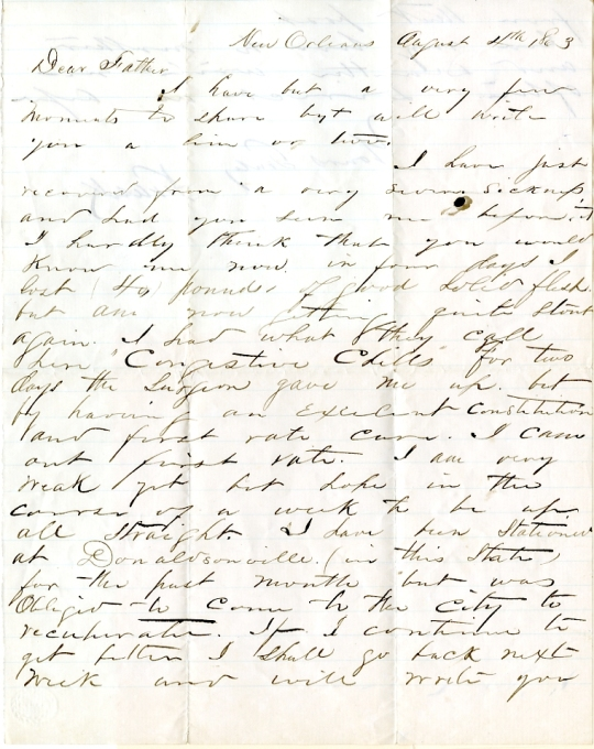 Frank Harding letter of August 8, 1863, from the Frank D. Harding Papers (River Falls Mss AB) in the University Archives & Area Research Center at the University of Wisconsin-River Falls