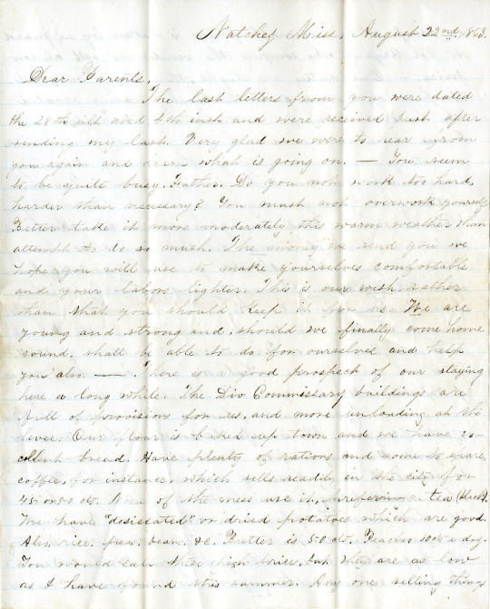 Edwin Levings letter of August 22, 1863, from the Edwin D. Levings Papers (River Falls Mss BO) in the University Archives & Area Research Center at the University of Wisconsin-River Falls