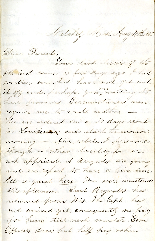 Edwin Levings letter of August 30, 1863, from the Edwin D. Levings Papers (River Falls Mss BO) in the University Archives & Area Research Center at the University of Wisconsin-River Falls