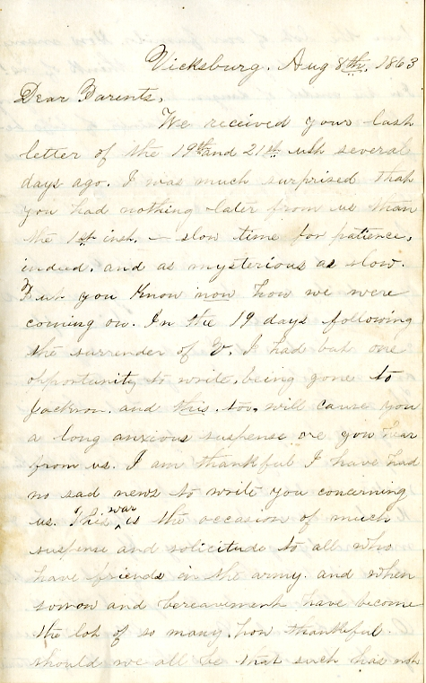 Edwin Levings letter of August 8, 1863, from the Edwin D. Levings Papers (River Falls Mss BO) in the University Archives & Area Research Center at the University of Wisconsin-River Falls