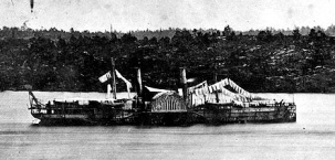 Cropped photograph of the USS Merrimac in the summer of 1864 (see footnote x)