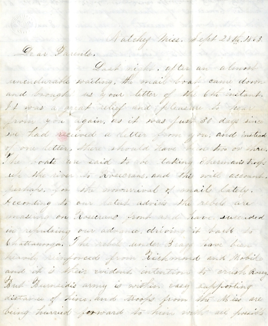 Edwin Levings letter of September 28, 1863, from the Edwin D. Levings Papers (River Falls Mss BO) in the University Archives & Area Research Center at the University of Wisconsin-River Falls