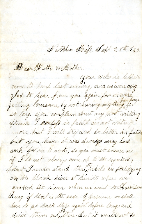 Homer Levings letter of September 28, 1863, from the Edwin D. Levings Papers (River Falls Mss BO) in the University Archives & Area Research Center at the University of Wisconsin-River Falls