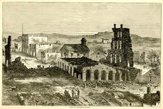 Ruins of Lawrence, Kansas, from Harper's Pictorial History of the Civil War (see footnote 1)