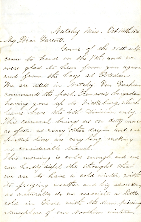 Edwin Levings letter of October 14, 1863, from the Edwin D. Levings Papers (River Falls Mss BO) in the University Archives & Area Research Center at the University of Wisconsin-River Falls