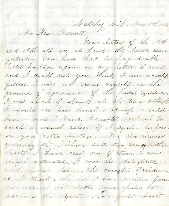 Edwin Levings letter of November 5, 1863, from the Edwin D. Levings Papers (River Falls Mss BO) in the University Archives & Area Research Center at the University of Wisconsin-River Falls