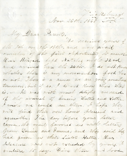 Edwin Levings letter of November 26, 1863, from the Edwin D. Levings Papers (River Falls Mss BO) in the University Archives & Area Research Center at the University of Wisconsin-River Falls