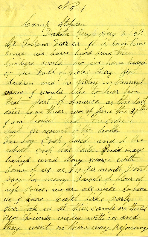 Thomas F. Morton letter of August 6, 1863, from the W. H. C. Folsom Papers (River Falls Mss S) in the University Archives and Area Research Center at the University of Wisconsin-River Falls.