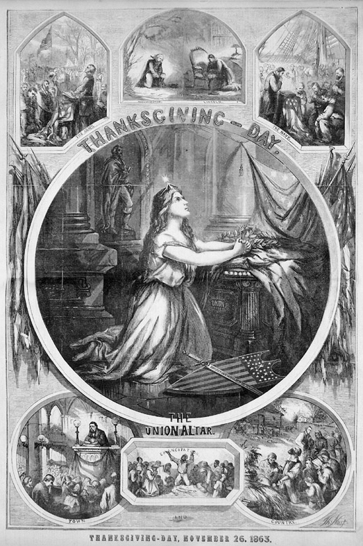 "A Thomas Nast print showing Lady Liberty praying for peace. It was the Thanksgiving print in the November 26, 1863, issue of ""Harper's Weekly."" (see footnote 1)"