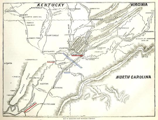 """Map of Burnside's East Tennessee Campaign, from """"Harper's Pictorial History of the Civil War""""²"""