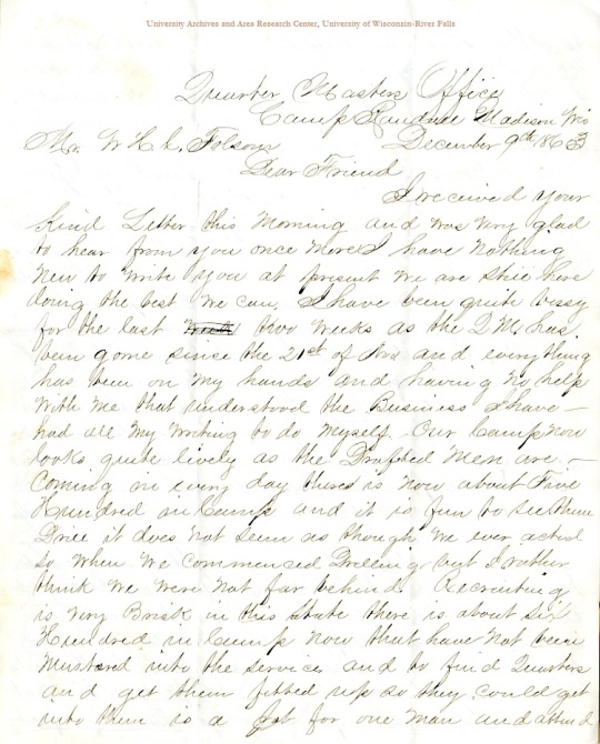 Frederick A. Dresser letter of December 9, 1863, from the H. W. C. Folsom Papers (River Falls Mss S) in the University Archives & Area Research Center at the University of Wisconsin-River Falls