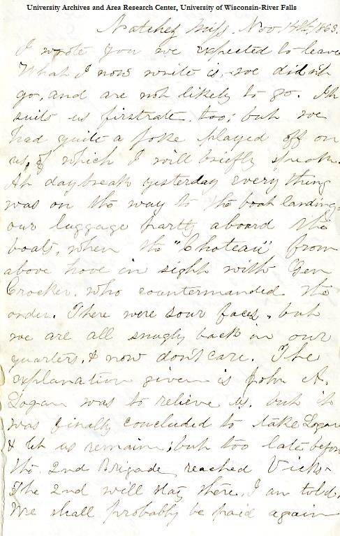 Edwin Levings letter of November14, 1863, from the Edwin D. Levings Papers (River Falls Mss BO) in the University Archives & Area Research Center at the University of Wisconsin-River Falls