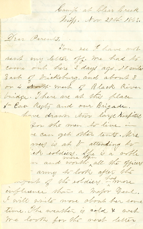 Edwin Levings letter of November 29, 1863, from the Edwin D. Levings Papers (River Falls Mss BO) in the University Archives & Area Research Center at the University of Wisconsin-River Falls