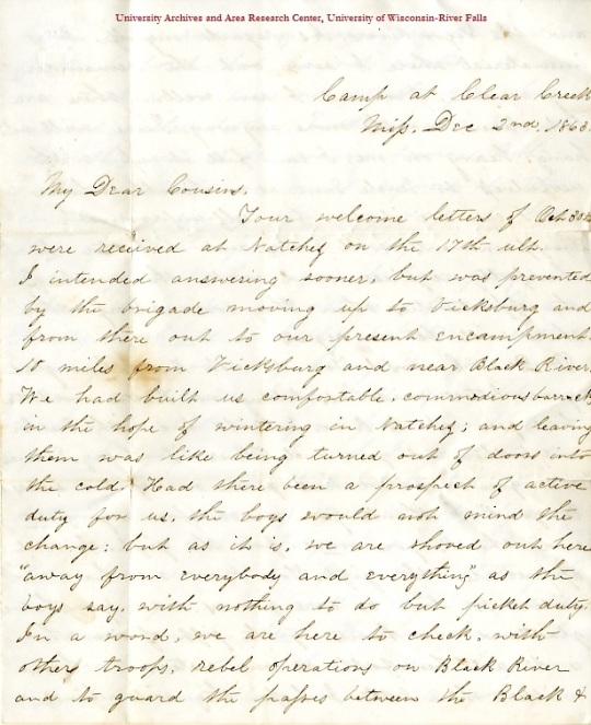 Edwin Levings letter of December 2, 1863, from the Edwin D. Levings Papers (River Falls Mss BO) in the University Archives & Area Research Center at the University of Wisconsin-River Falls