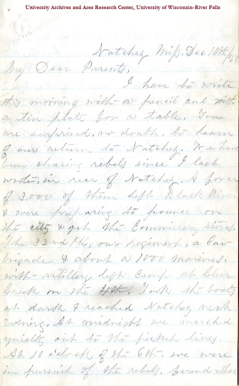 Edwin Levings letter of December 10, 1863, from the Edwin D. Levings Papers (River Falls Mss BO) in the University Archives & Area Research Center at the University of Wisconsin-River Falls