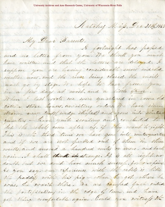 Edwin Levings letter of December 20, 1863, from the Edwin D. Levings Papers (River Falls Mss BO) in the University Archives & Area Research Center at the University of Wisconsin-River Falls