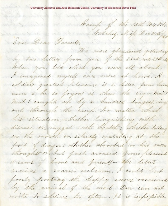 Edwin Levings letter of Decemeber 24, 1863, from the Edwin D. Levings Papers (River Falls Mss BO) in the University Archives & Area Research Center at the University of Wisconsin-River Falls