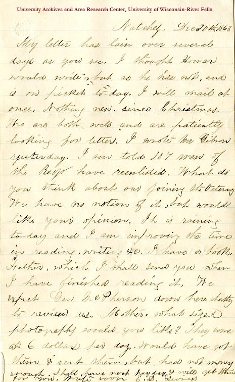 Edwin Levings letter of Decemeber 30, 1863, from the Edwin D. Levings Papers (River Falls Mss BO) in the University Archives & Area Research Center at the University of Wisconsin-River Falls