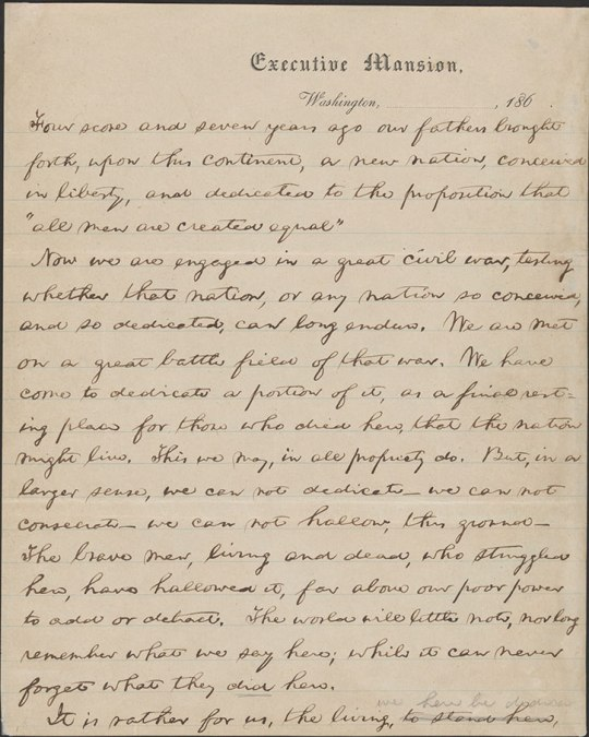 "Page 1 of the ""Nicolay Copy"" of the Gettysburg Address, 1863.  (Library of Congress Digital ID# al0186p1)"